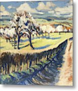 Spring In The Bellet Fruit Orchard Metal Print