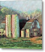 Spring On The Farm - Old Barn With Two Silos Metal Print
