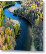Springtime On The Manistee River Aerial Metal Print