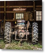 Square Format Old Tractor In The Barn Vermont Metal Print