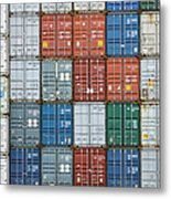 Stack Of Cargo Containers Full Frame Metal Print