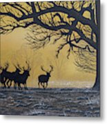 Stags At Dawn Metal Print
