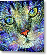 Stained Glass Cat Art Metal Print