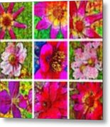 Stained Glass Pink Flower Collage  Metal Print