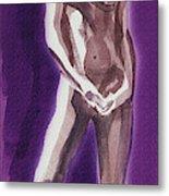 Standing Nude Model Gesture Xxxix Metal Print