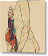 Standing Nude With A Patterned Robe, 1917  Metal Print