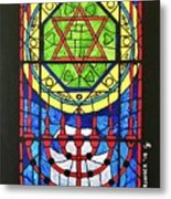 Star Of David Stained Glass Metal Print