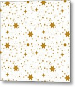Star, Pattern, White, Background, Gold Metal Print