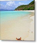 Starfish On Beach Sand Metal Print