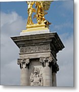 Statue, Alexandre 3 Bridge In Paris Metal Print