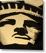 Statue Of Liberty In Dark Sepia Metal Print