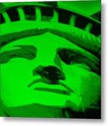 Statue Of Liberty In Green Metal Print