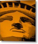 Statue Of Liberty In Orange Metal Print
