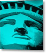 Statue Of Liberty In Turquois Metal Print