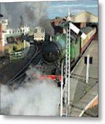 Steam Train Leaving Station Metal Print