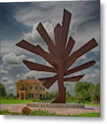 Steel Palm - Peace River Botanical And Sculpture Gardens Metal Print