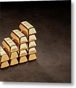 Stepped Stack Of Gold On Dark Surface Metal Print