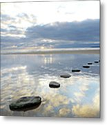 Stepping Stones Over Water With Sky Metal Print