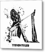 Steven Tyler Microphone Aerosmith Black And White Watercolor 02 Metal Print