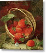 Still Life Of Strawberries With A Cabbage White Butterfly Metal Print