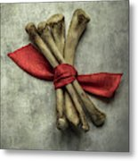Still Life With Bones And Red Ribbon Metal Print
