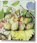 Still Life With Plums, Walnuts And Jasmine Metal Print