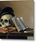Still Life With Skull, Books, Flute And Pipe Metal Print