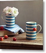 Still Life With Striped Cups Metal Print