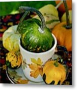 Still Live With Autumn Coffee Cup And Gourds Metal Print
