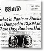 Stock Market Crash On World Headline Metal Print
