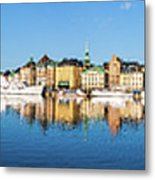 Stockholm Old City Fantastic Golden Hour Sunrise Reflection In The Baltic Sea Metal Print