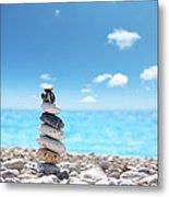 Stone Balance On Beach Metal Print