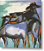Stone Barn Cows Metal Print