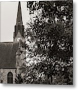 Stone Chapel - Black And White Metal Print