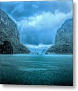 Storm Clouds Invade Ha Long Bay Blue Rain  Metal Print