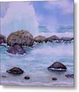 Stormy Shore On Nisyros Greece Metal Print
