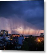 Stormy Weather Over The Small Town Metal Print