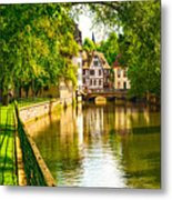 Strasbourg, Water Canal In Petite Metal Print