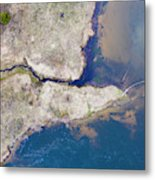Stream Along Manistee River Aerial Metal Print