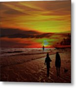 Strolling The Beach At Olon Metal Print