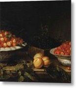 Studio Of Francois Garnier Paris 1600 - 1672 Still Life With A Bowl Of Cherries Metal Print
