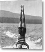 Stunt Man Performing Aquaplane Feat Metal Print