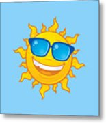 Summer Sun Wearing Sunglasses Metal Print