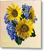 Sunflowers And Hydrangeas Metal Print