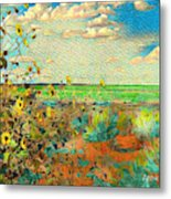 Sunflowers On The Edge Metal Print