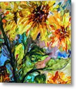 Sunflowers Summer Flowers Mixed Media Metal Print