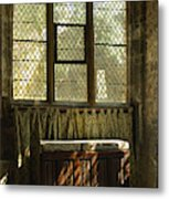 sunlight on linen fold altar in Trinity church York Metal Print