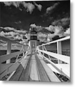 Sunny Skies At Marshall Point In Black And White Metal Print
