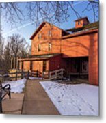 Sunny Winter Day At Bonneyville Mill Metal Print