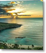 Sunrise Over Hanauma Bay On Oahu Hawaii Metal Print